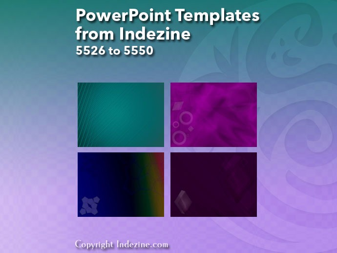 PowerPoint Templates from Indezine 222: Designs 5526 to 5550