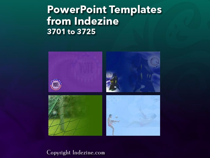 PowerPoint Templates from Indezine 149: Designs 3701 to 3725