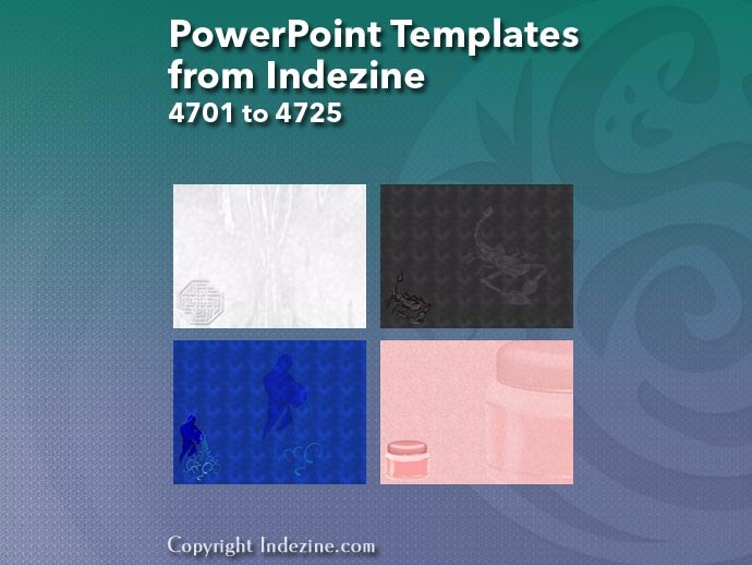 PowerPoint Templates from Indezine 189: Designs 4701 to 4725
