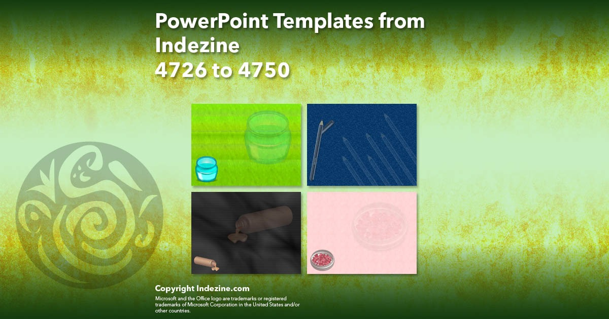 PowerPoint Templates from Indezine 190: Designs 4726 to 4750