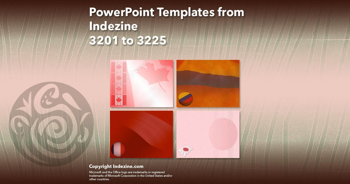 PowerPoint Templates from Indezine 129: Designs 3201 to 3225