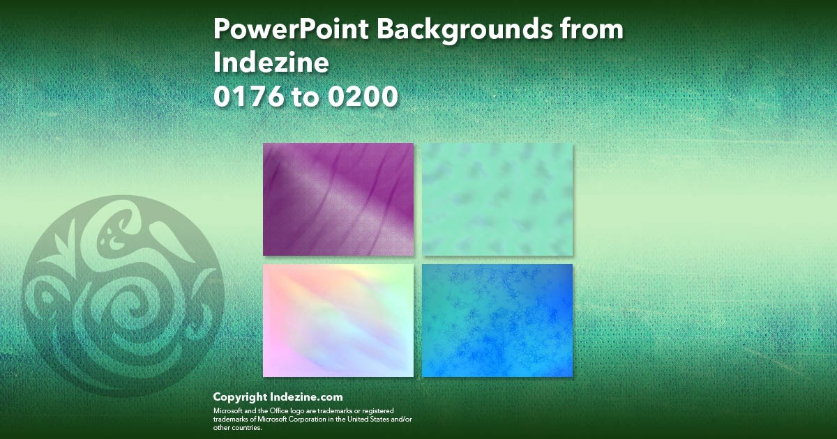 PowerPoint Backgrounds from Indezine 008: Designs 0176 to 0200