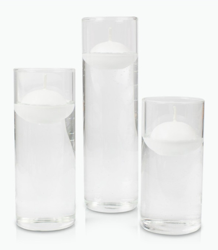 4cm White Floating Candles and Clear Cylinder Glass Set of 3 - Medium