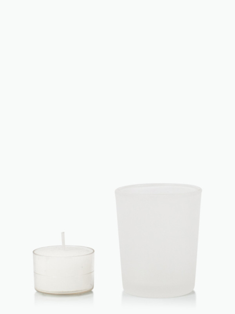 Event 9hr Acrylic Cup Tealight in Frosted Votive Glass. Set 24