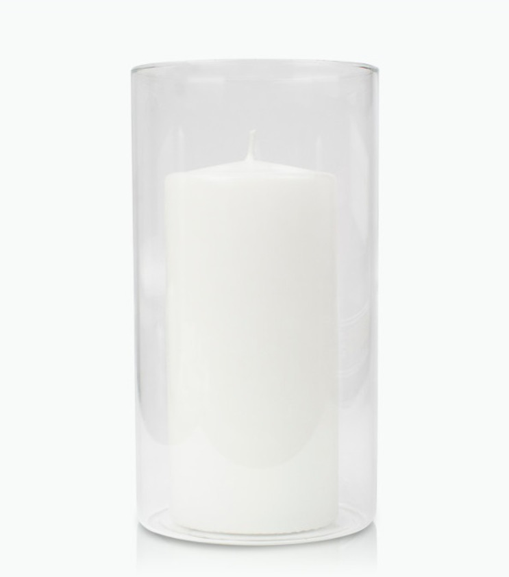 7 x 20cm Event Pillar Candle and 25cm Cylinder Glass. Set of 6