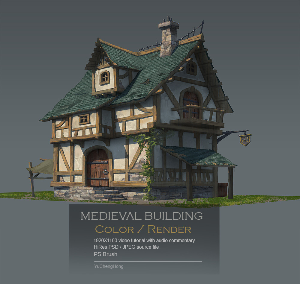 Medieval building color/render