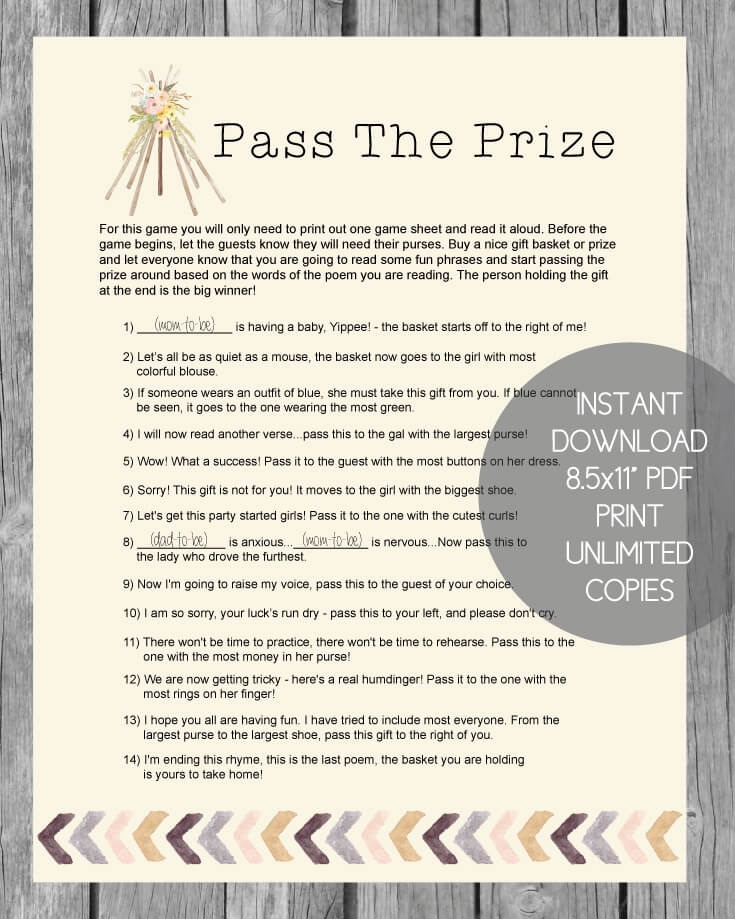 Printable Pass The Prize Baby Shower Game - Boho Tribal Tee Pee Theme