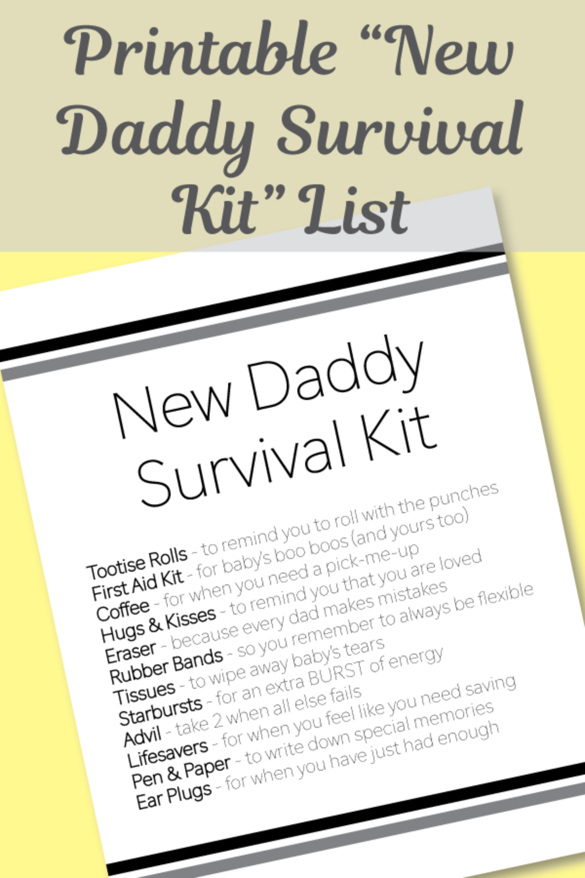 FREE Printable New Daddy Survival Kit List