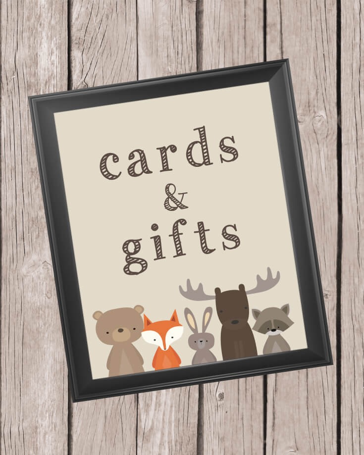 Printable Cards And Gifts Sign - 8x10