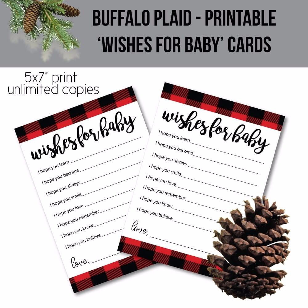 Printable Red And Black Plaid Wishes For Baby Cards - Red Buffalo Plaid Woodland Lumberjack Theme
