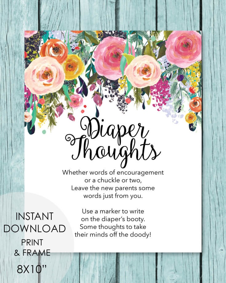 Late Night Diaper Thoughts Baby Shower Activity - Garden Flowers Theme