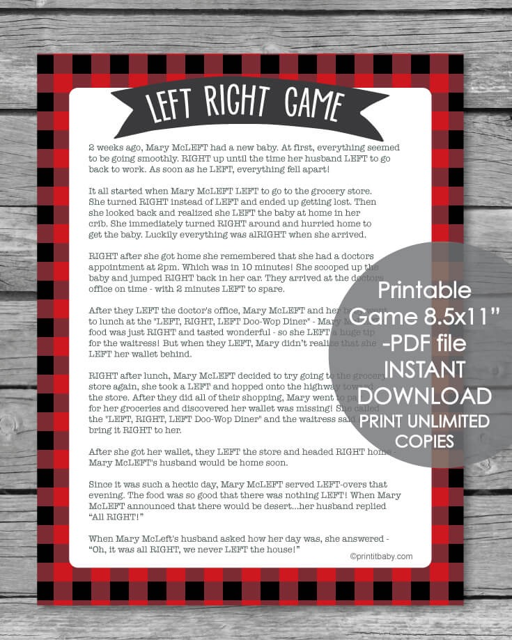 Printable Left Right Baby Shower Game Red And Black Buffalo Plaid Print