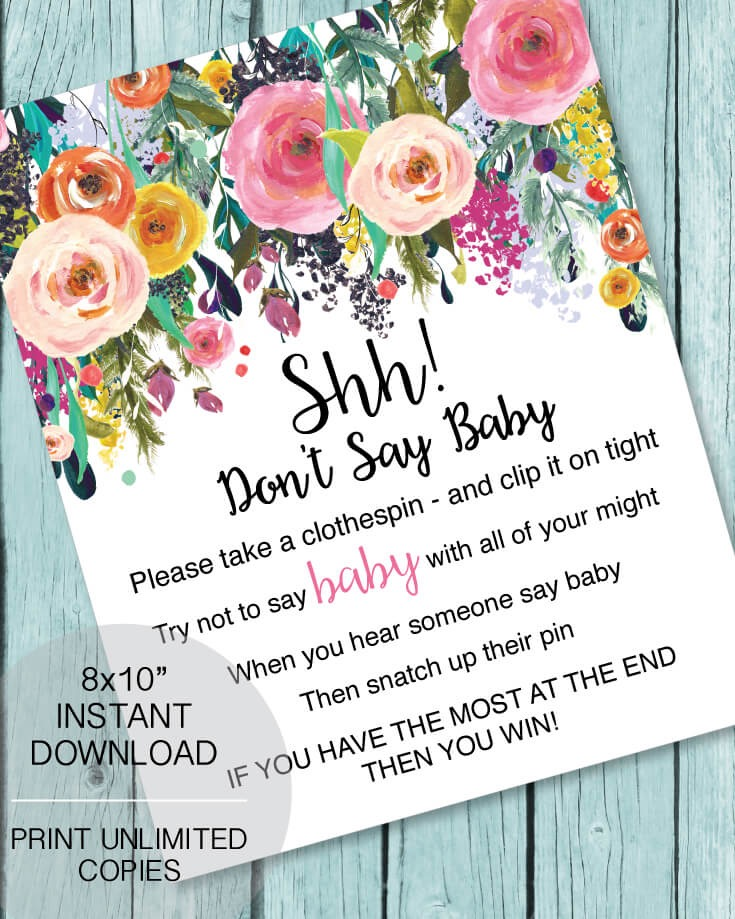 """Printable """"Don't Say Baby"""" Clothespin Baby Shower Game - Garden Flowers"""