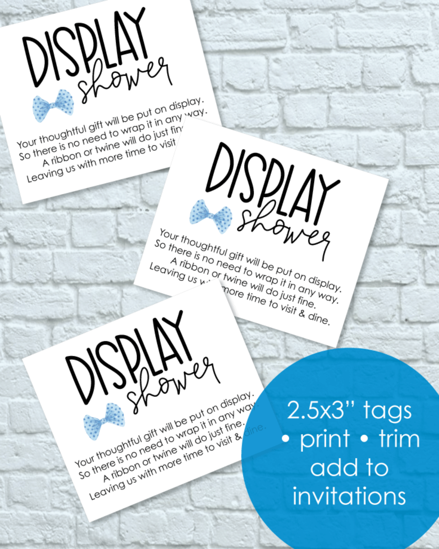 Printable Boy Blue Bow Tie Display Baby Shower Cards - Little Man