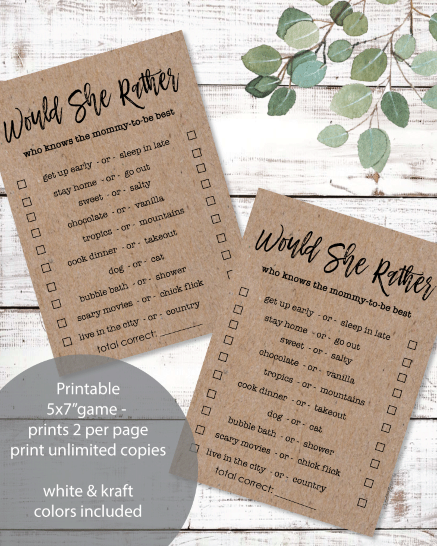 Printable Would She Rather Baby Shower Game - 5x7