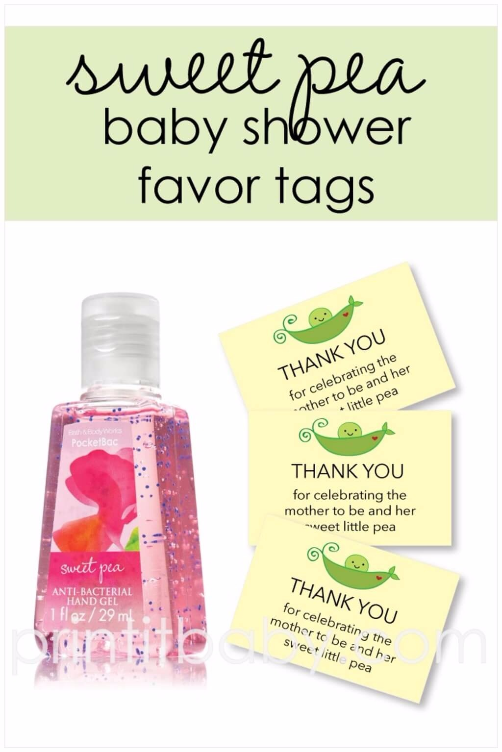 Free Printable Yellow Sweet Pea Favor Tags