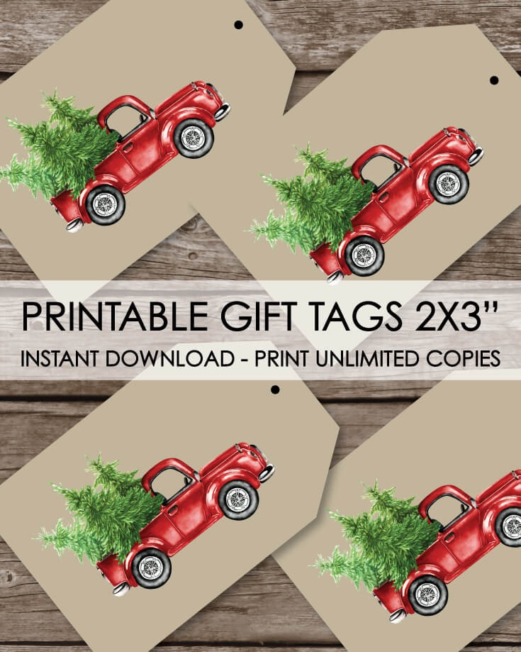Printable Christmas Gift Tags - Red Truck Holiday Winter Theme