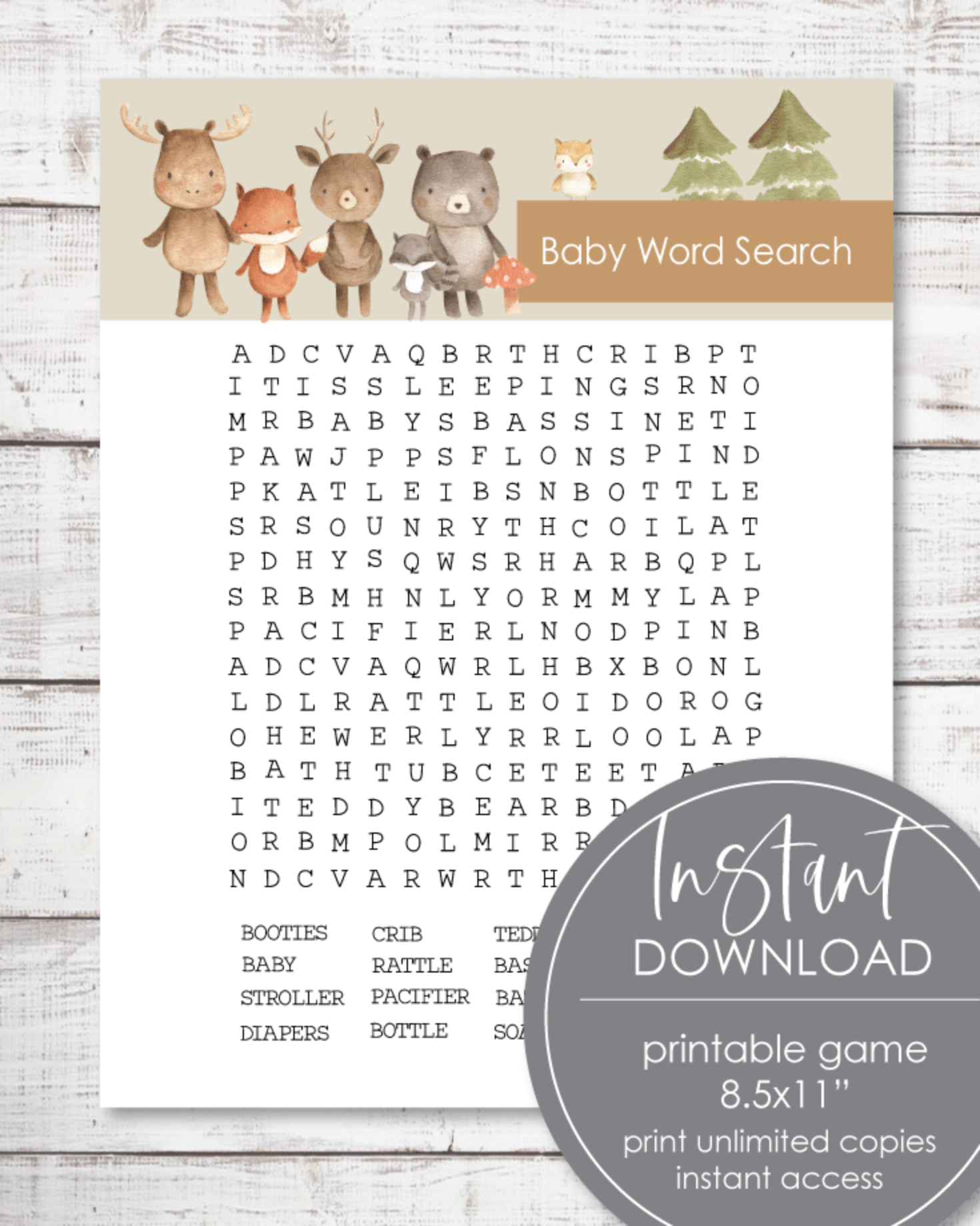 Printable Woodland Watercolor Word Search Game