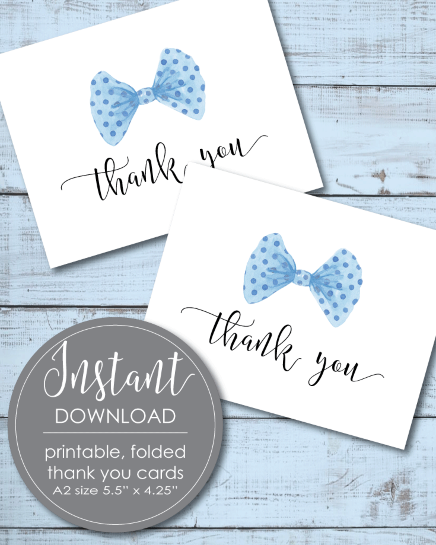 Printable Thank You Card - Boy Little Man Bow Tie Theme - 5.5 x 4.25""