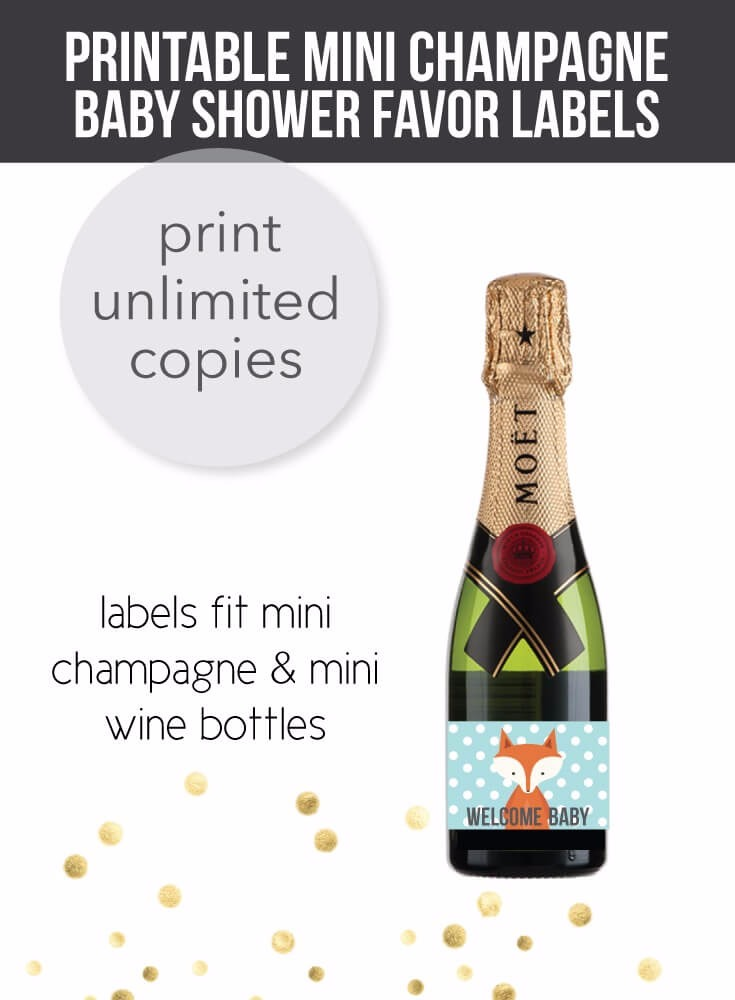 Woodland Fox Mini Champagne Baby Shower Favor Labels
