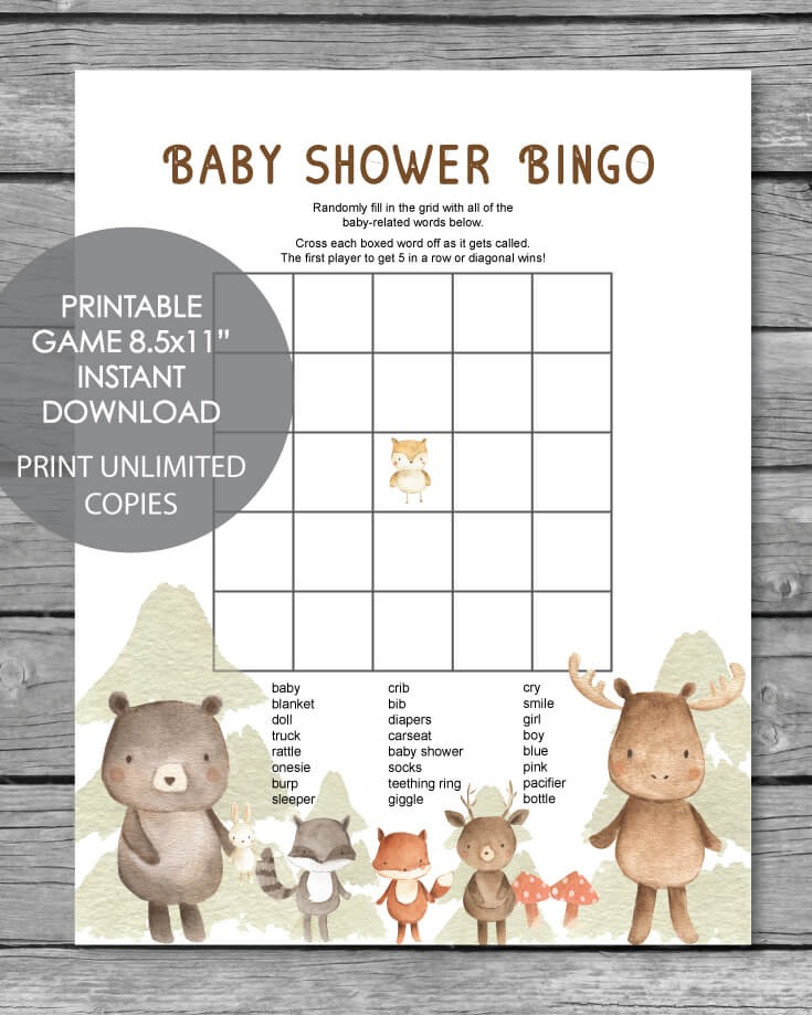 Printable Baby Shower Bingo Game - Woodland Animals Watercolor Theme