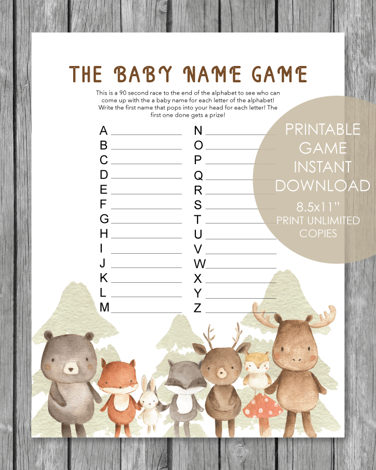 Printable Baby Shower Name Game - Baby Shower Names A to Z - Woodland Animals Watercolor Theme