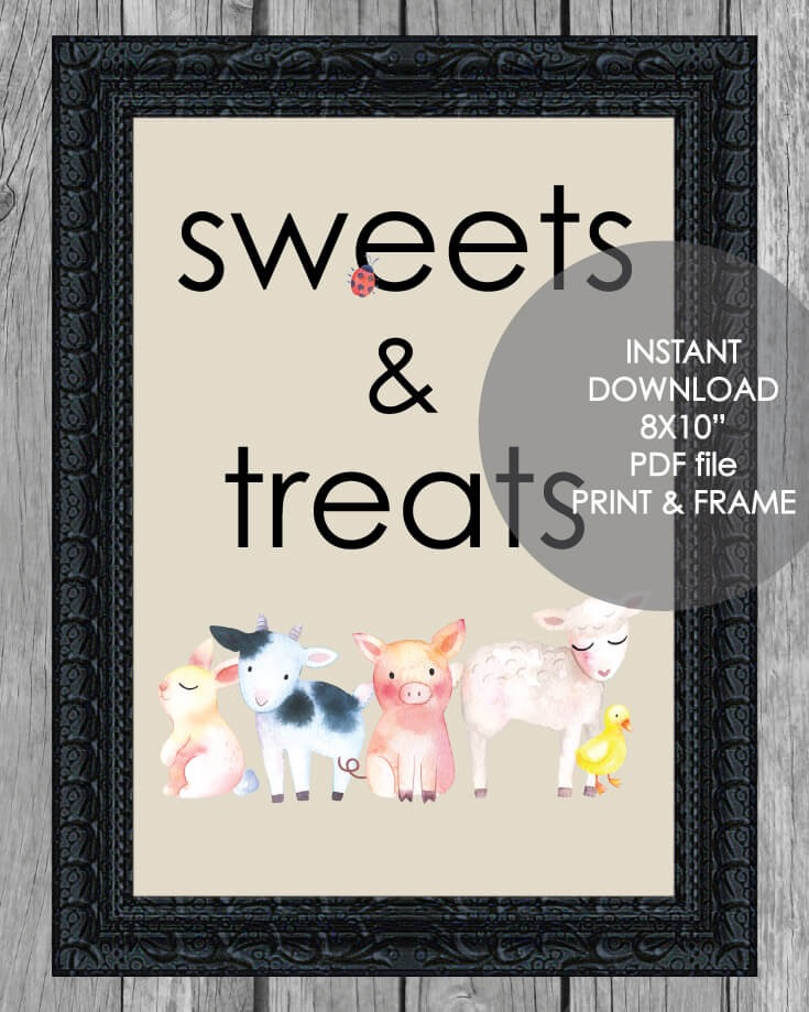 "Printable Sweets And Treats Sign - 8x10"" Baby Farm Animals Theme"