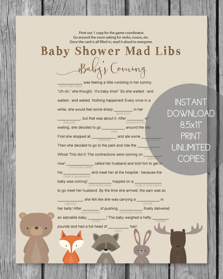 Woodland Animals Printable Baby Shower Mad Libs