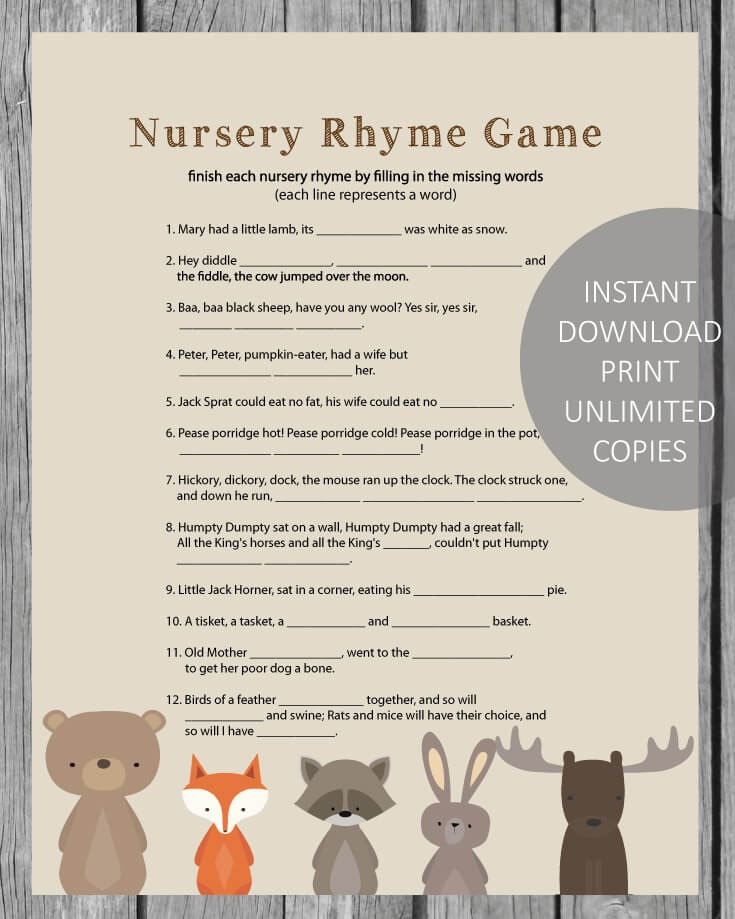 Woodland Animals Printable Baby Shower Nursery Rhyme Game