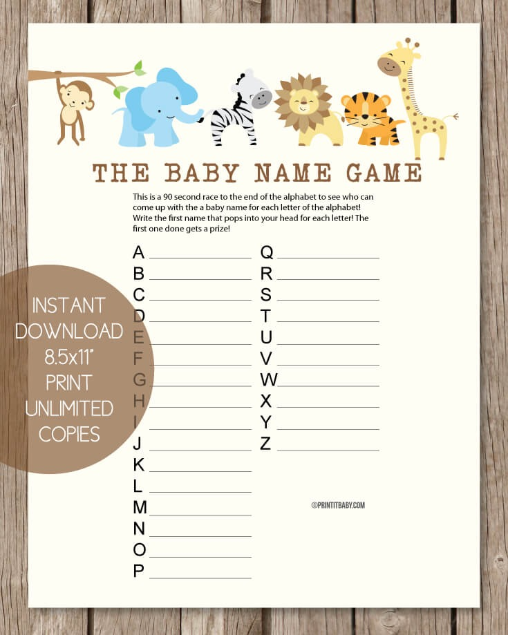 Printable Baby Shower Name Game - Baby Shower Names A to Z - Jungle Animals Theme