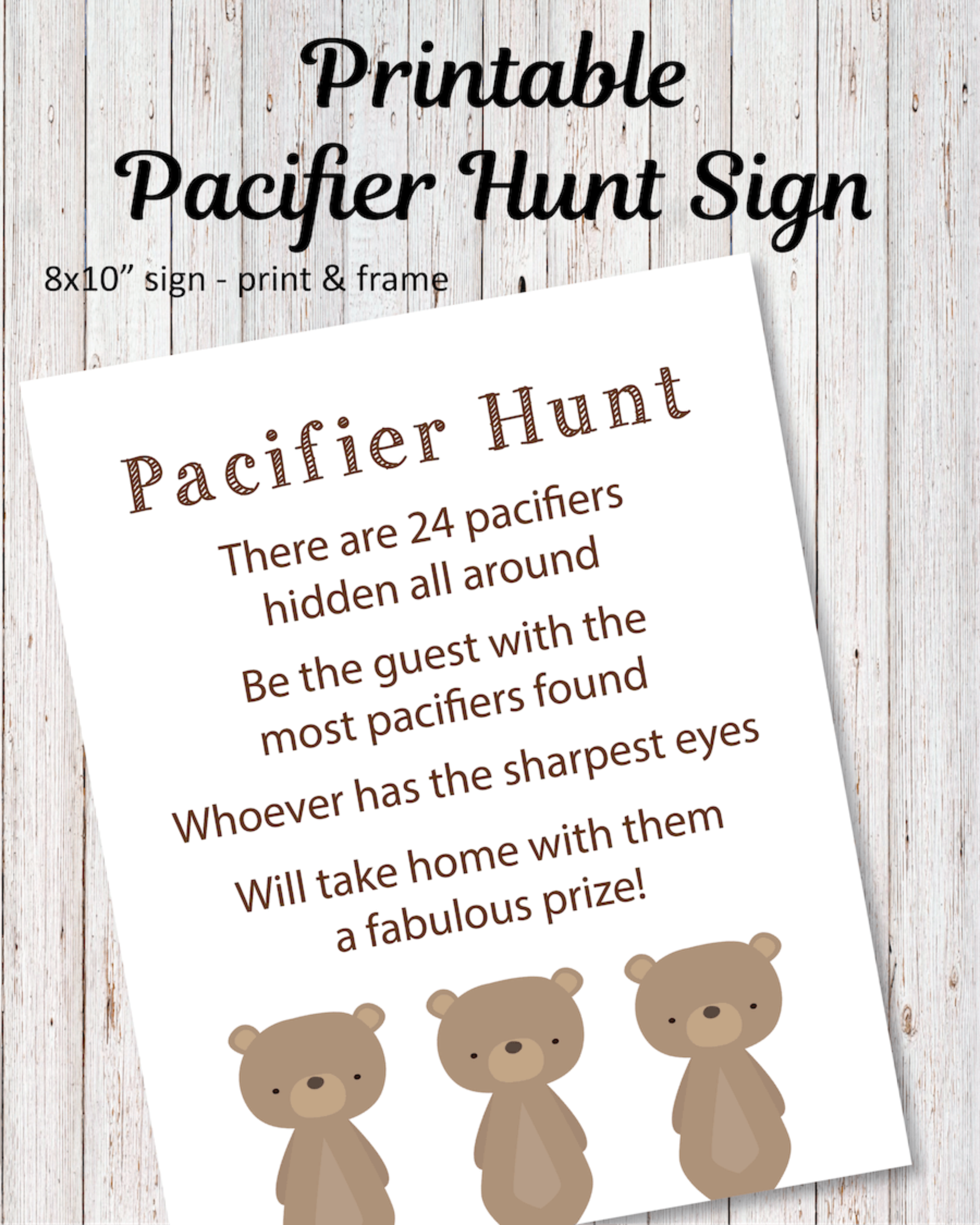 Printable Pacifier Hunt Baby Shower Game Sign - Woodland Bear Theme