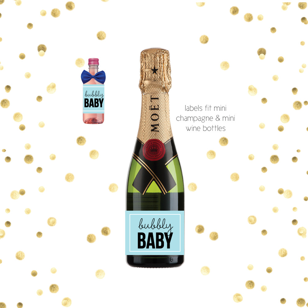 Mini Champagne Blue Bubbly Baby Shower Favor Labels