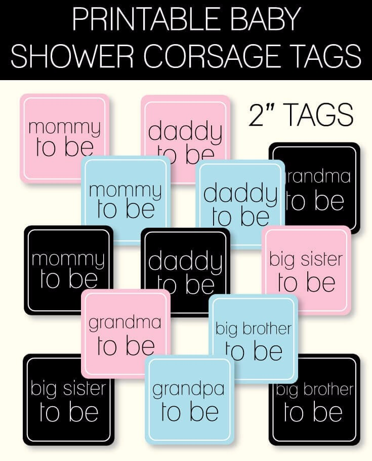 Printable Baby Shower Corsage Tags