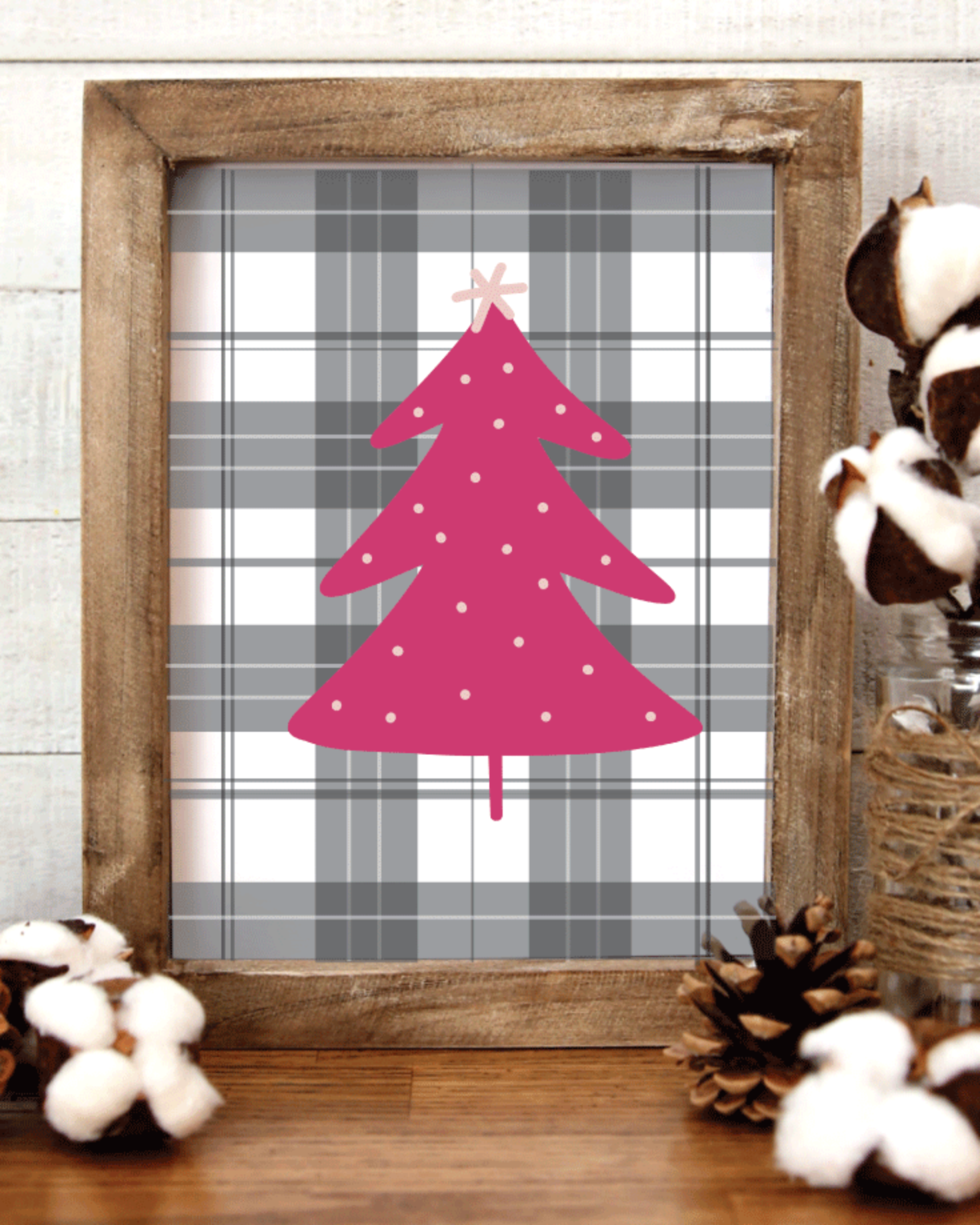 Printable, Gray & White Plaid & Pink Tree, Holiday Winter Christmas Wall Art Sign Print