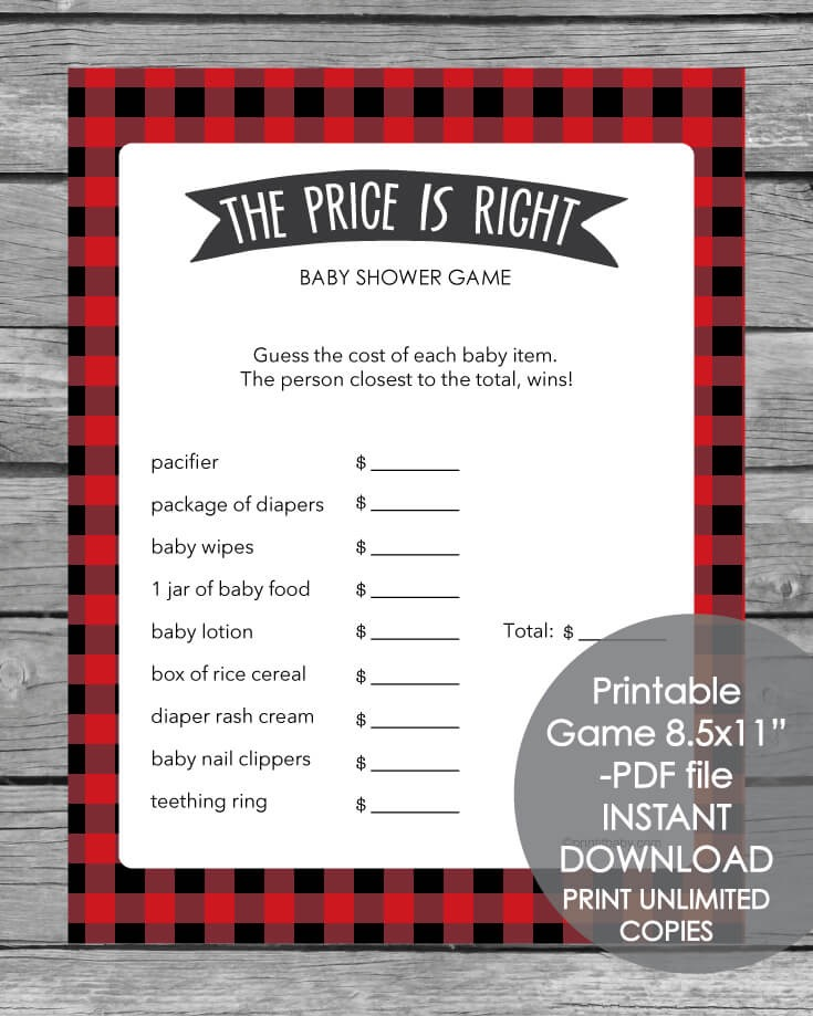 The Price Is Right Baby Shower Game - Woodland Red And Black Buffalo Plaid