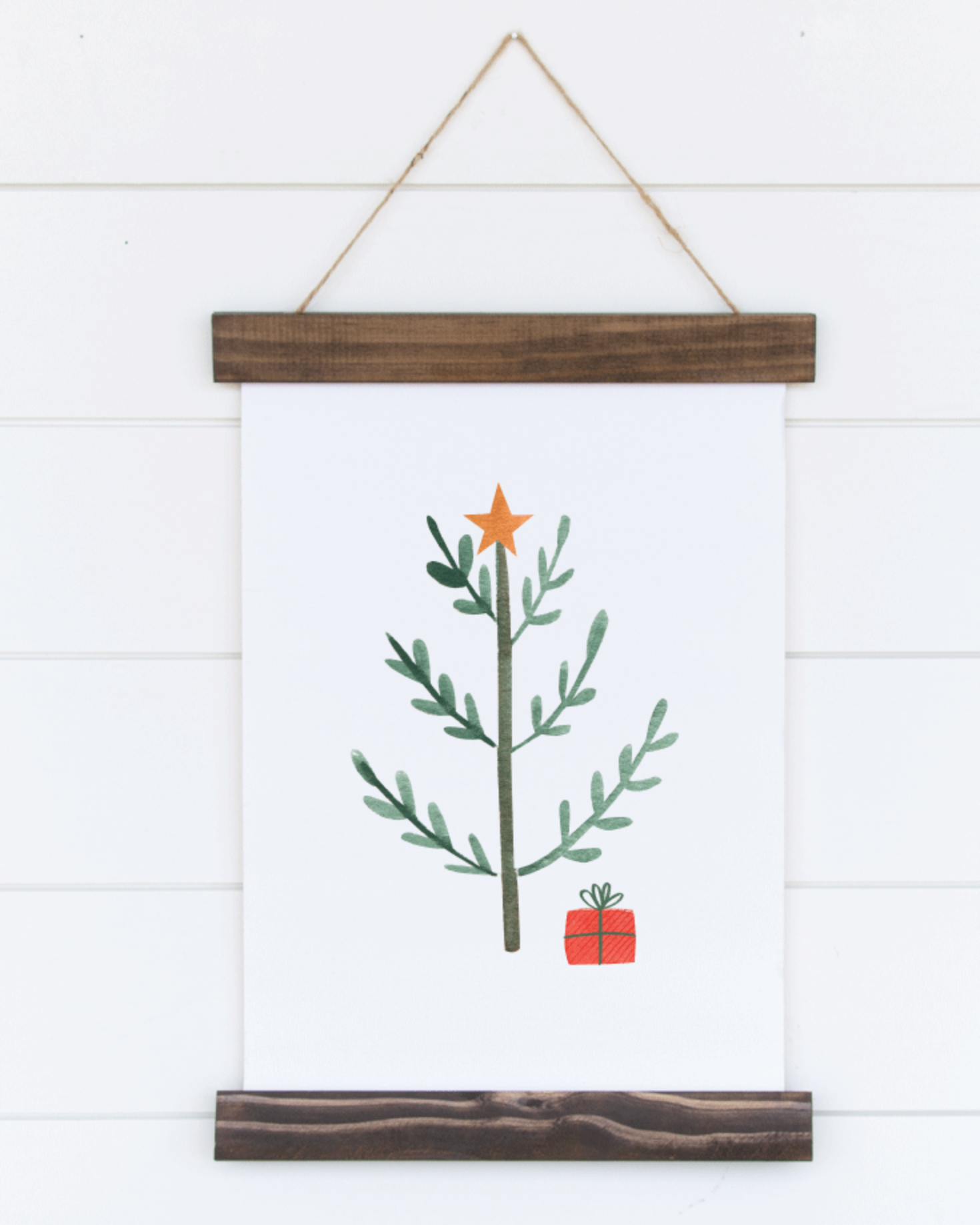 Printable Tree, Holiday Winter Christmas Wall Art Sign Print
