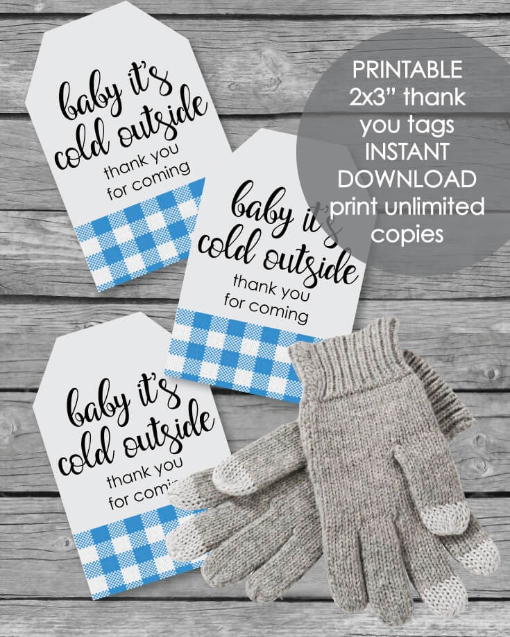 Printable Baby It's Cold Outside Favor Tags - Holiday Winter Baby Shower Blue Plaid Theme