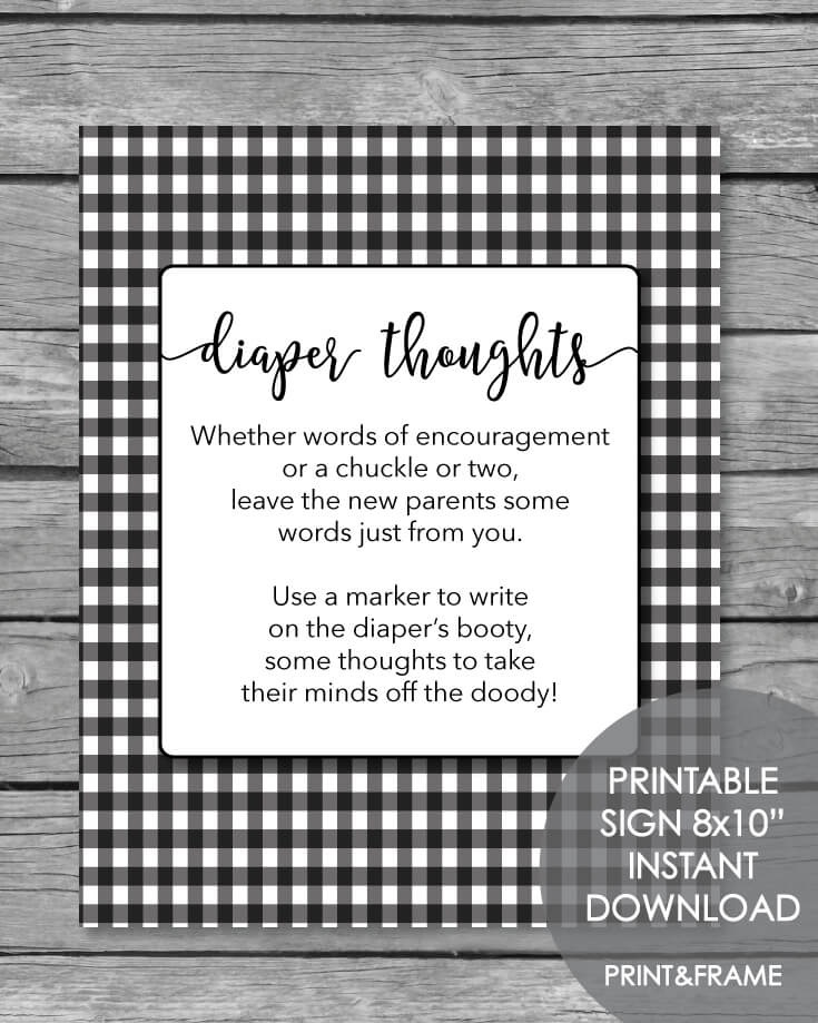 Late Night Diaper Thoughts Baby Shower Activity -  Black & White Plaid