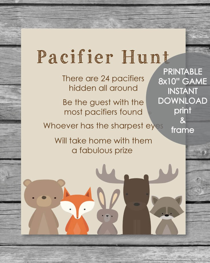 Printable Pacifier Hunt Baby Shower Game Sign - Woodland Animals Theme