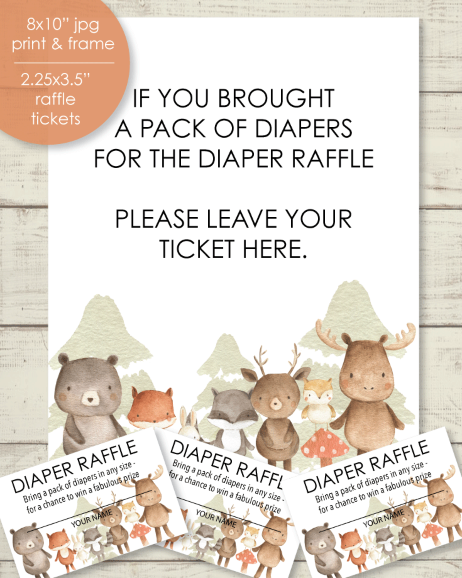 Printable Baby Shower Diaper Raffle Tickets & Sign - Woodland Watercolor Animals Theme