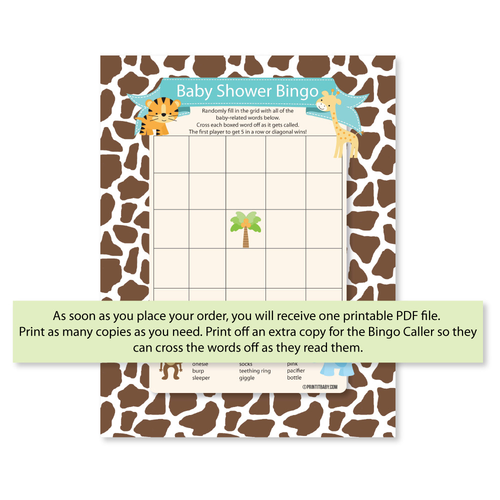 Printable Baby Shower Bingo Game - Jungle Theme
