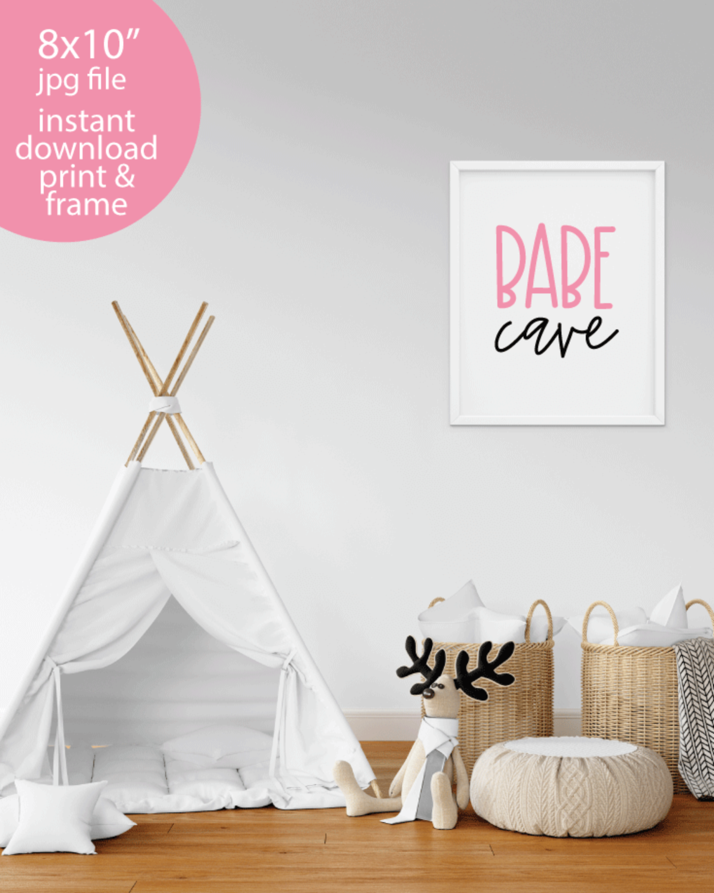 "Printable Babe Cave, 8x10"" Wall Art Sign - Girl Playroom or Bedroom Sign"