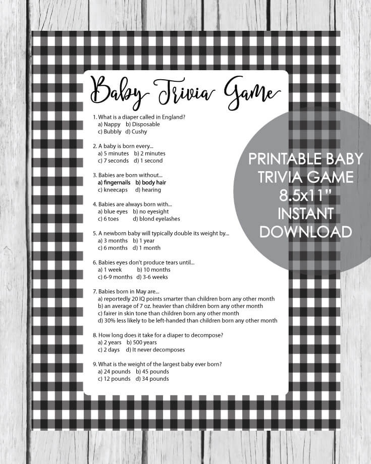 Printable Baby Shower Trivia Game - Black And White Plaid