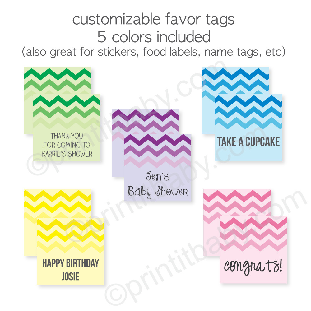 Free Chevron Ombre Favor Tags - Customize