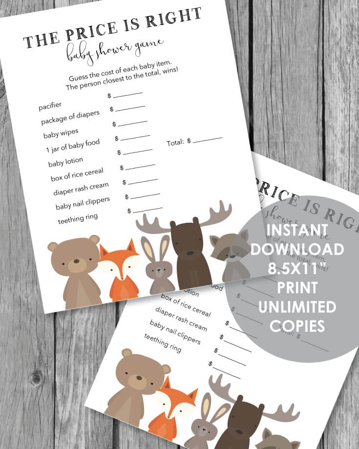 Woodland Animals Printable The Price Is Right Baby Shower Game - 2 per page