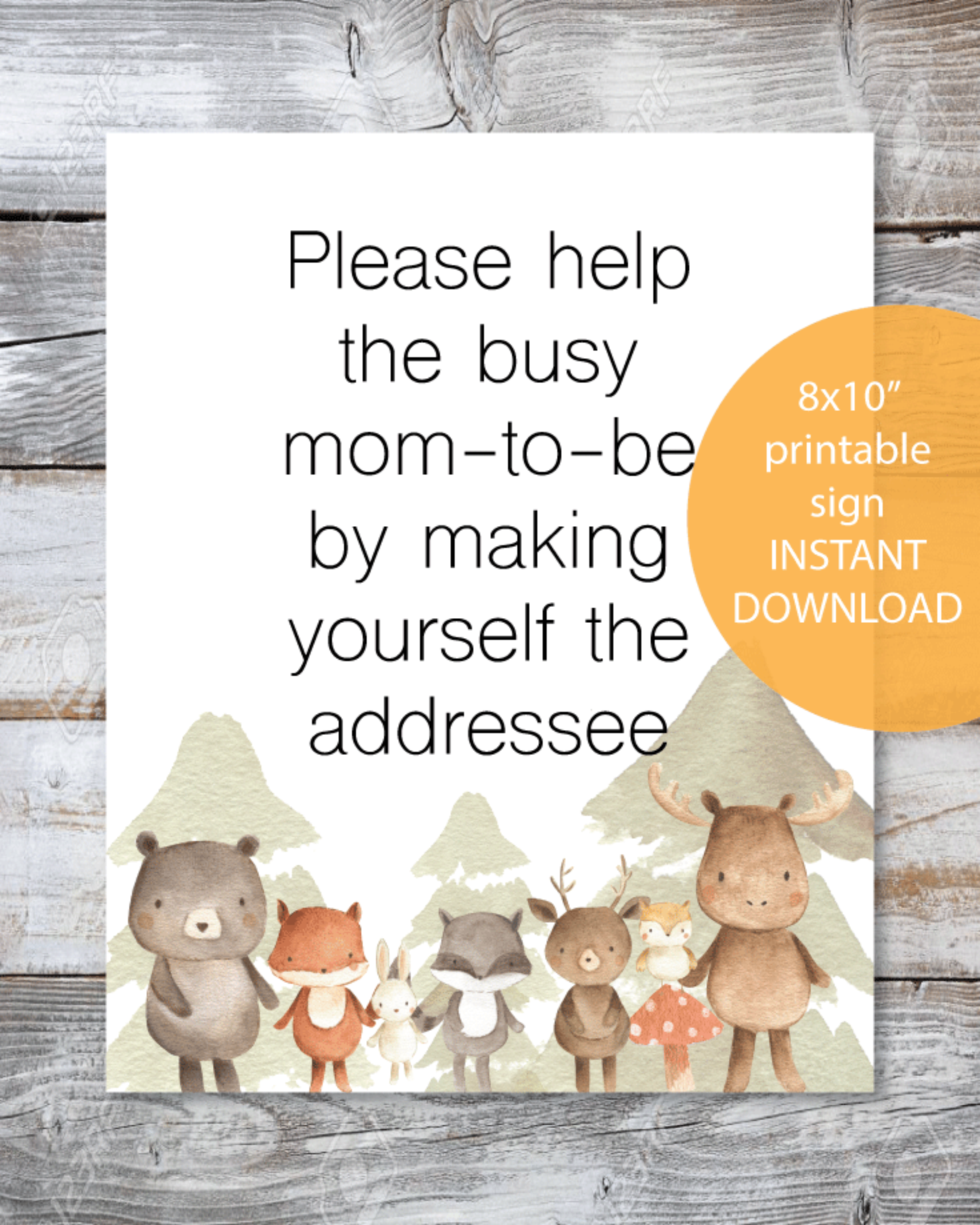Woodland Watercolor Animals Printable Address Request Baby Shower Sign