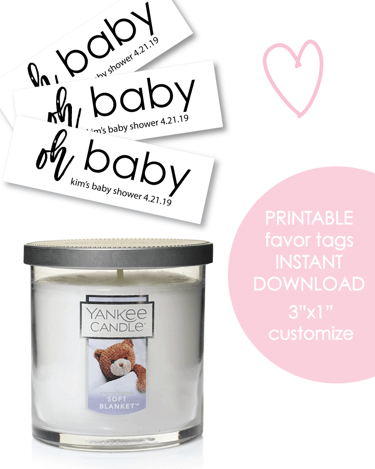 "Printable 3x1"" Oh Baby Baby Shower Favor Tags - Customize"