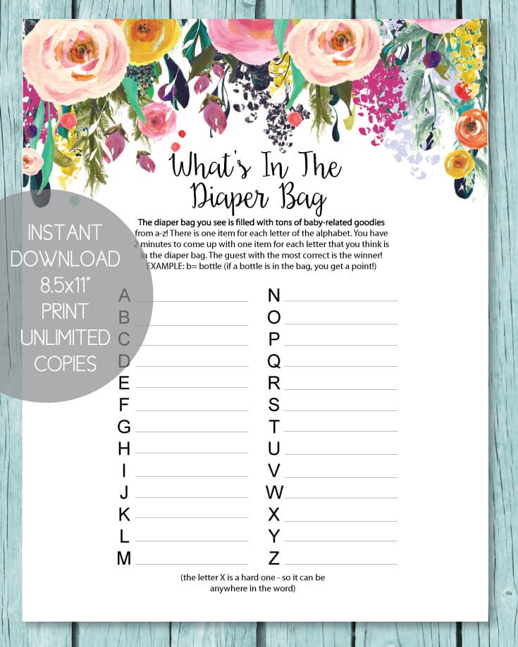 What's In The Diaper Bag Baby Shower Game - Garden Flowers Theme
