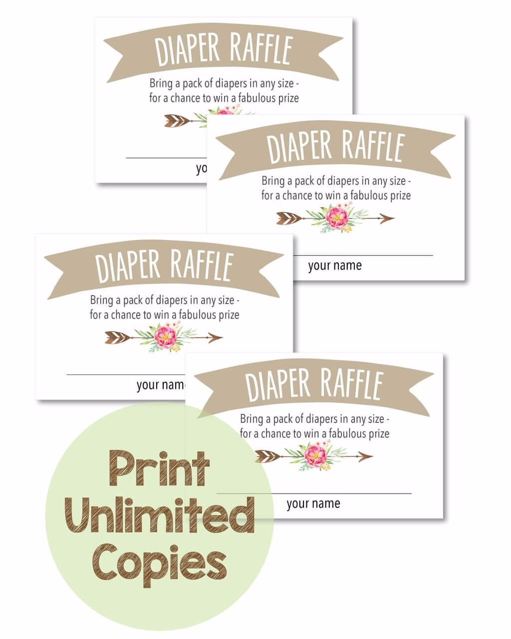 Printable Baby Shower Diaper Raffle Tickets - Boho Arrow