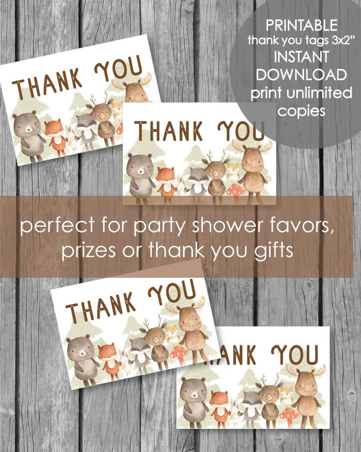 "Printable 3x2"" Woodland Animals Watercolor Thank You Tags"